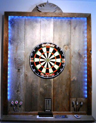 Wood dartboard backboard with LED lighting