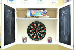 DIY white dartboard cabinet