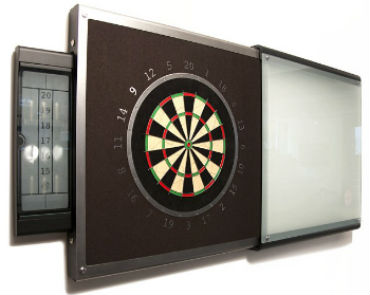 Frosted glass slide-out dartboard cabinet