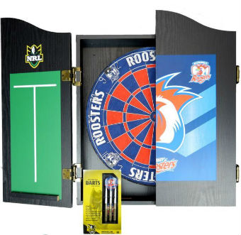 Roosters dartboard cabinet