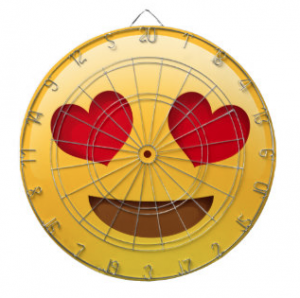 Love heart emoji dartboard