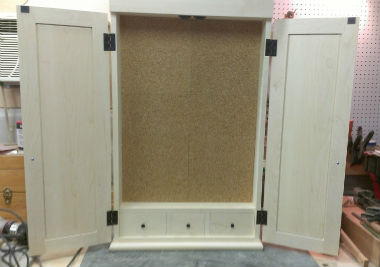 maple dartboard cabinet